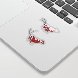 Red and blue shrimp Sticker