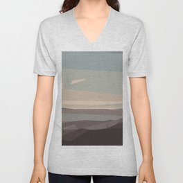 brown blue and dark brown abstract background Unisex V-Neck