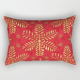 DP044-2 Gold snowflakes on red Rectangular Pillow