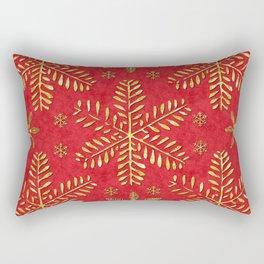 DP044-2 Gold snowflakes on red Rectangular Pillow