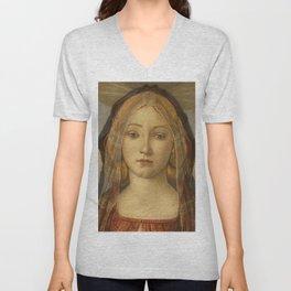 "Sandro Botticelli ""The Virgin and Child with Saint John and an Angel"" The Virgin Unisex V-Neck"