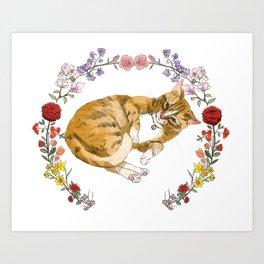 Bon the Cat in Floral Wreath Art Print