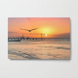 Isla Holbox, Mexico. Golden Sunset of Paradise Dreams Metal Print