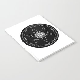 A Ward Against Being Seen By Narcissists (white on black) Notebook