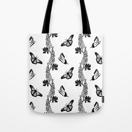 Delphiniums and Butterflies Black and White Tote Bag