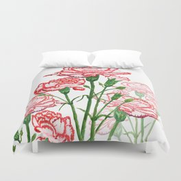 pink and red carnation watercolor painting Duvet Cover