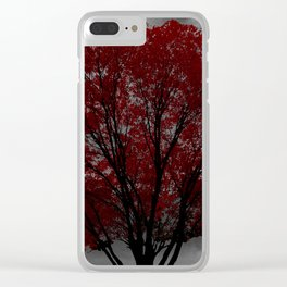 Red Tree, Grey Sky Clear iPhone Case