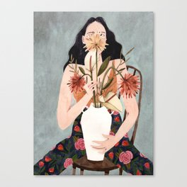 Hilda with vase Canvas Print