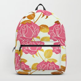Numble Gold | Pink roses golden flowers pattern Backpack