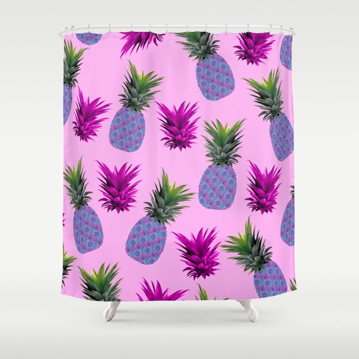 Tropical Pineapple Print Shower Curtain