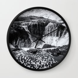 Thor's Well, No. 3 bw Wall Clock
