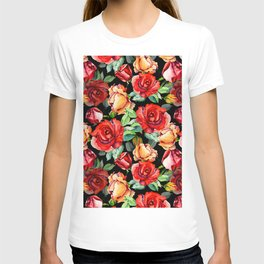 Hand painted black red watercolor roses floral T-shirt