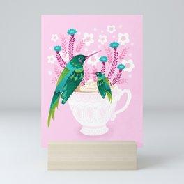 Hummingbirds on Teacup Mini Art Print