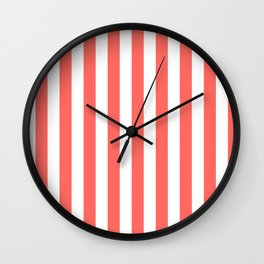 Narrow Vertical Stripes - White and Pastel Red Wall Clock