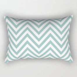 Zigzag Pattern, Chevron Pattern - White Blue Rectangular Pillow