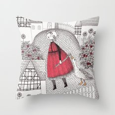 The Old Village Throw Pillow