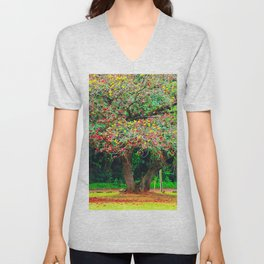 big tree with green yellow and red leaves Unisex V-Neck