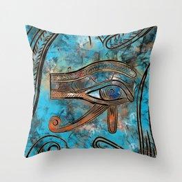 Egyptian Eye of Horus - Wadjet - Mixed Media Abstract Throw Pillow