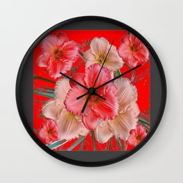 GREY-RED  PINK & CREAM DAYLILIES FLORAL Wall Clock