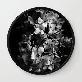Oleander flowers in black and white 2 Wall Clock