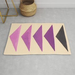 Colorful Purple Geometric Triangle Pattern With Black Accent Rug