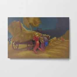 Race Against the Rain - Haying Before the Storm landscape painting by Bernard Steffen Metal Print