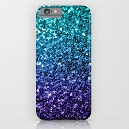 Beautiful Aqua blue Ombre glitter sparkles iPhone Case