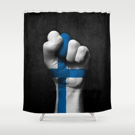 Finnish Flag on a Raised Clenched Fist Shower Curtain