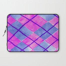 Hand Painted Classic Argyle Pattern Pink Purple Blue Laptop Sleeve