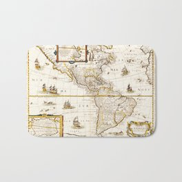 Map of North and South America (1661) Bath Mat