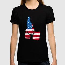 American Flag Idaho Deer Hunting Patriotic T-Shirt T-shirt