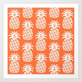 Retro Mid Century Modern Pineapple Pattern Orange 2 Art Print