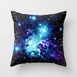 Fox Fur Nebula Turquoise Blue Purple Black Throw Pillow