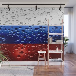 Flag of Russia - Raindrops Wall Mural
