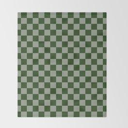 Large Dark Forest Green Checkerboard Pattern Throw Blanket