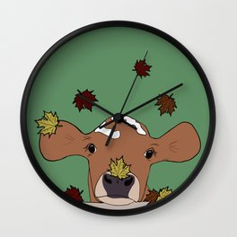 Bessie the Calf and Fall Leaves Wall Clock