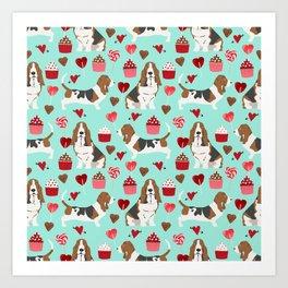 Basset Hound valentines day cute gifts for dog lover pet portrait dog breed custom illustration Art Print