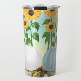 chipmunk, red breasted nuthatches, heirloom pumpkins, & sunflowers Travel Mug