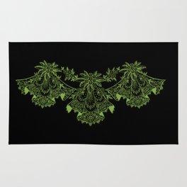 Vintage Lace Hankies Black and Greenery Rug