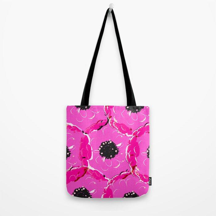 Pink black big flowers Tote Bag