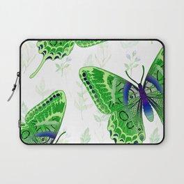 Beautiful Green Butterflies Flowers Garden Laptop Sleeve
