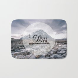 Have Faith Inspirational Typography Over Mountain Bath Mat