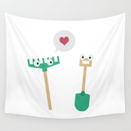 Spade and  Rake in love Wall Tapestry