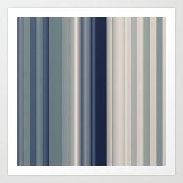 blue grey and white striped minimal pattern Art Print