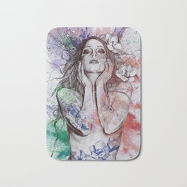 The Withering Spring: Wine (nude tattooed girl with flowers) Bath Mat