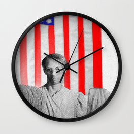 Red White Black And Blue Wall Clock