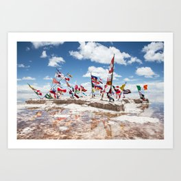 Salar de Uyuni International Flags Art Print