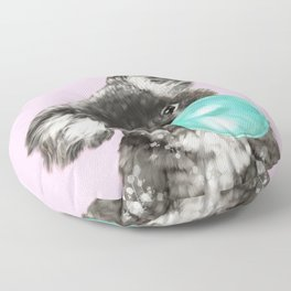 Playful Koala Bear with Bubble Gum in Pink Floor Pillow
