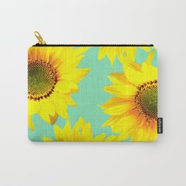 Sunflowers on a pastel green backgrond  Carry-All Pouch