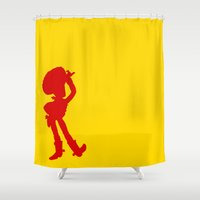 woody Shower Curtains featuring Woody by JessicaSzymanski